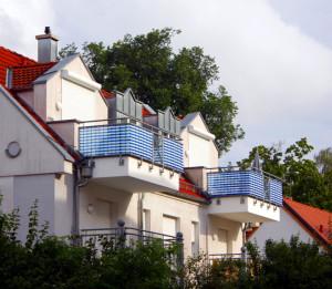 Sichtschutz aus Stoff am Balkon
